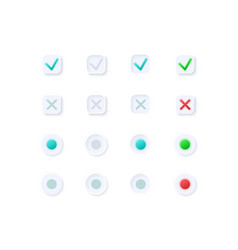 Tick and cross buttons ui elements kit vector