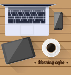 top view morning coffee vector image