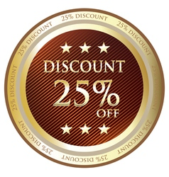 Twenty Five Percent Discount Gold Label vector image