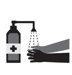 two hands and a bottle antiseptic to fight vector image