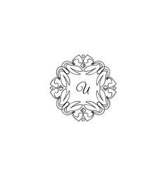 u letter logo monogram design elements line art vector image