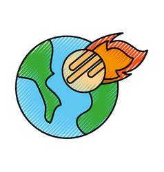 Universe planet earth meteorite falling space vector