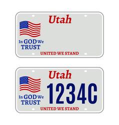 utah car license plate usa number retro vector image