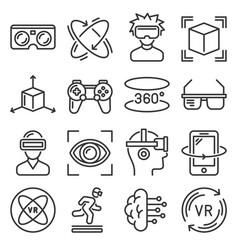 virtual reality and vr gaming icons set vector image