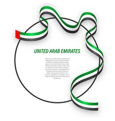 Waving ribbon flag united arab emirates vector