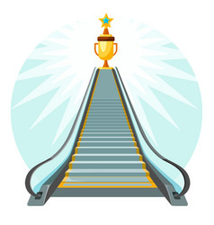 way to success conceptual poster with escalator vector image