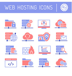 web hosting and cloud services icons set vector image