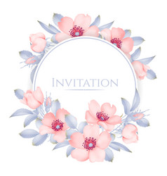 Wedding invitation with wild rose flowers vector