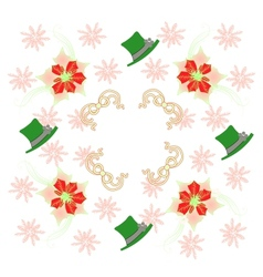 White Pattern with Poinsettia and Snowflakes vector