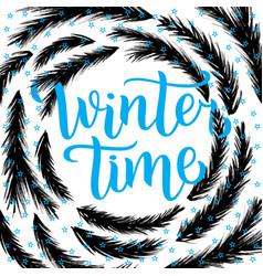 Winter time lettering design vector
