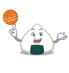 With basketball onigiri character cartoon style vector