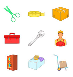 work service icons set cartoon style vector image