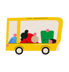 yellow car for for family travelling with children vector image