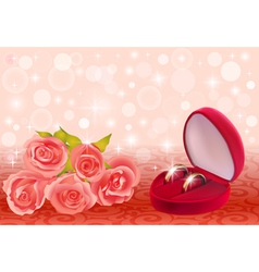 background with roses and weddin vector image