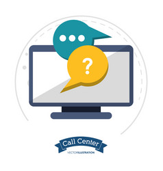 call center technology helpline chat vector image vector image