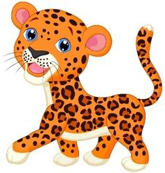 Cute baby leopard cartoon vector