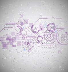 futuristic technology with digital and gear vector image vector image