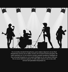 Rock band silhouette on stage with text place vector