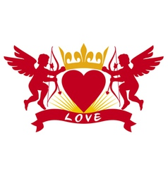two cupids heart and crown vector image vector image