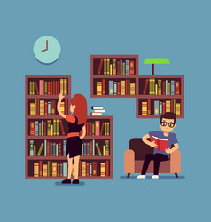 young couple reading books - flat library or vector image