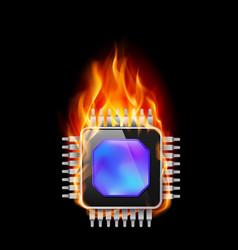 burning processor on black background vector image
