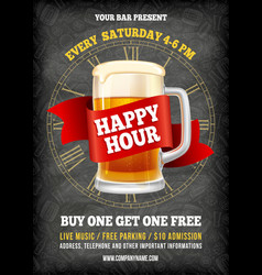 happy hour poster template vector image
