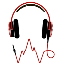 Red and black headphones with cable vector image
