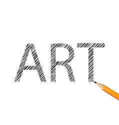 Art word drawn with graphite pencil vector image