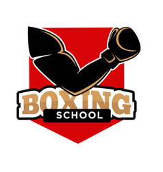 boxing school promotional logotype with fit arm in vector image vector image