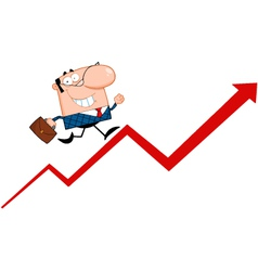 Business Manager Running Upwards On A Statistics A vector image vector image