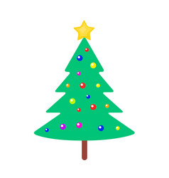 christmas tree with bright balls and yellow star vector image vector image
