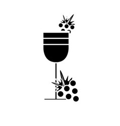contour wine glass with grape fruit vector image vector image