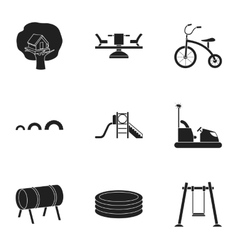 Play garden set icons in black style Big vector image vector image