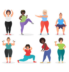 set of cute plus size curved women doing fitness vector image