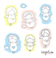 Set of cute sketch angels vector image