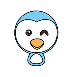 Drawing penguin face animal vector