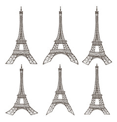 eiffel tower set vector image vector image