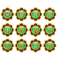 flower media buttons vector image
