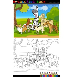 purebred dogs cartoon for coloring book vector image vector image