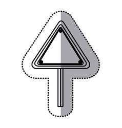 Sticker silhouette triangle shape traffic sign vector