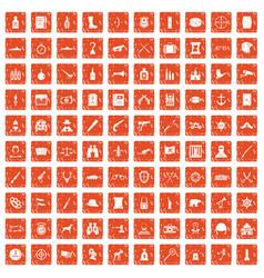 100 guns icons set grunge orange vector