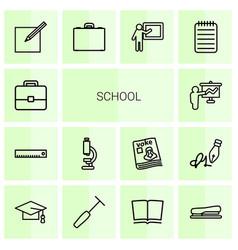 14 school icons vector image