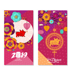 2019 chinese new year greeting card two sides vector