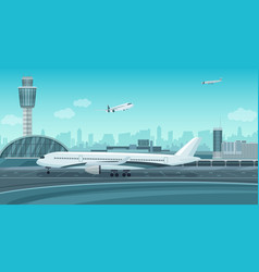 Airport terminal building with aircraft taking off vector