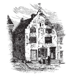 an old quaker house vintage vector image
