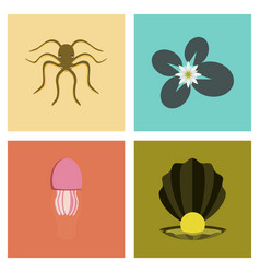 Assembly flat octopus jellyfish vector