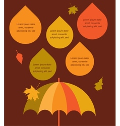 Autumn time umbrella with rain drops place for vector