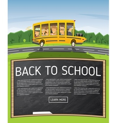 Back to School Yellow School Bus in Cartoon Style vector
