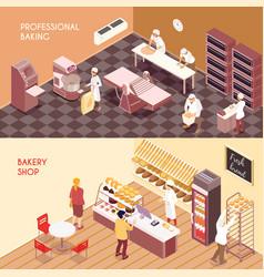 bakery isometric banners vector image