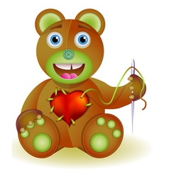 Bear toy with heart vector image vector image